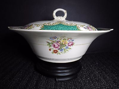 "Myott Serving Bowl 9.5"" CORONATION ROSE Covered Green Vintage Earthenware China"