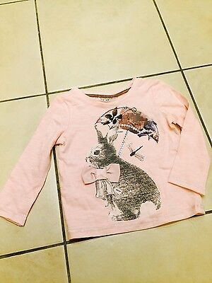 Girls Next BNWT dusty pink bunny design top size 9-12 months