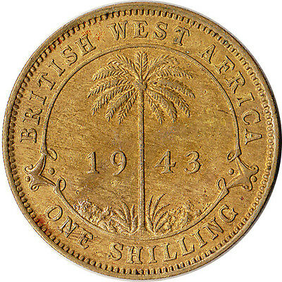 1943 West Africa (British) 1 Shilling Coin KM#23