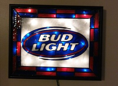 Bud Light Inspired Beer Sign Stained Glass Look Lighted Hand Painted