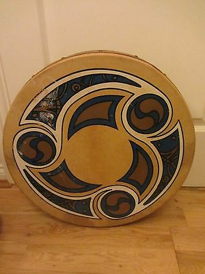 "Large Waltons Celtic Real Irish Bodhran K0922 18"" Diameter Irish Drum & Beater"