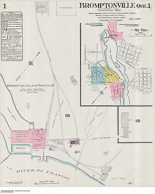 QUEBEC BROMPTONVILLE FOUR Street & Building Maps 1914