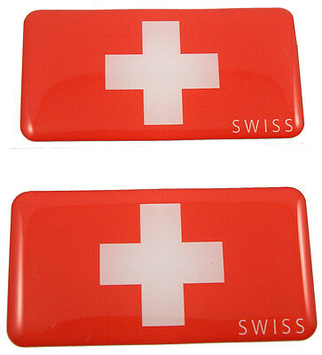 "Switzerland Swiss flag domed decal 3D sticker emblem 2.6"" set of 1 or 2"