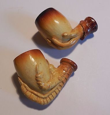 2 Anciennes Pipes Terre Fourreau Griffe  Victor Belle Serves Main A Identifier