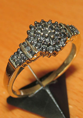Beautiful Secondhand 9Ct Yellow Gold Black Diamond Cluster Ring Size R