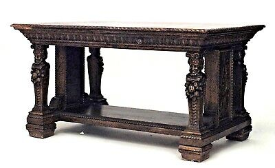 Italian Renaissance Style (19th Cent) Oak Library Style Table Desk