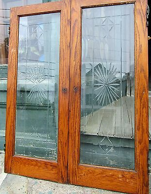 Pair Of Antique Wheel Cut Beveled Cabinet Doors