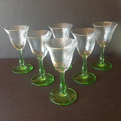 Vtg Depression Optic Swirl set of 6 Green Stem Liquor/Cordial Glasses