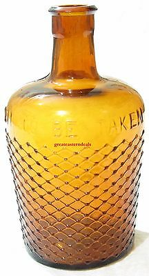 """Antique amber glass bottle  """"not to be taken"""" Victorian very rare"""