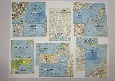10 Vintage National Geographic Maps 1963-1964 China, Australia, Holy Land, More!