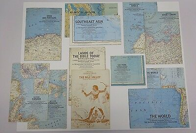 12 Vintage National Geographic Maps 1965-1968 World, Soviet Union, Vietnam, More
