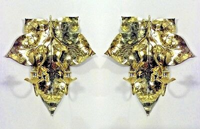 Pair of English Arts and Crafts Brass 2 Arm Wall Sconces