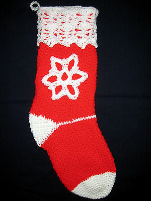 HANDMADE Knit CROCHET White SNOWFLAKE Christmas STOCKING Red HOLIDAY Decoration!