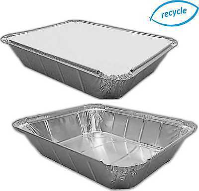 "LARGE DEEP FOIL TRAYS & OPTIONAL LIDS 12½ x 10½ x 2½"" Gastro, CONTAINERS DISHES"