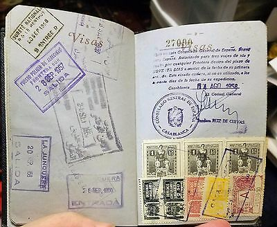 French 1957 passport Issued in Casablanca filled w/ visas + 17 revenue stamps