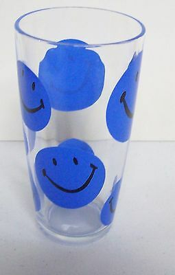 Vintage BLUE Smiley FACE Tumbler Glass