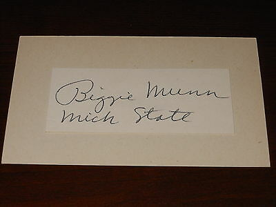 Michigan State CFHOF Biggie Munn (d.75) Auto Vintage Signed 3x5 Index Card