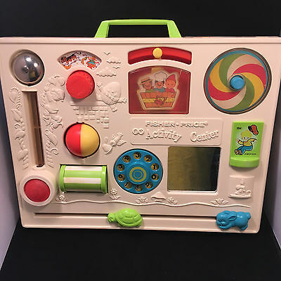 Vintage 1973 Fisher Price 134 Baby Crib Activity Center Busy Toy Nursery Rhymes