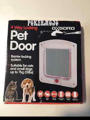 OxGord Dog Cat Flap Doors with 4 Way Lock for Pets Entry & Exit