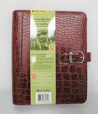 Day-Timer Green Series Starter Set - Leather Cover, Paper – Red