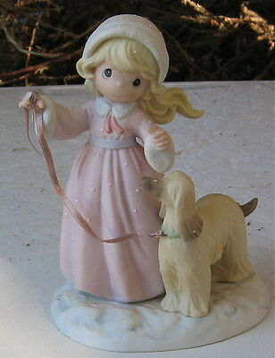 Afghan Hound Puppy Figurine Going For A Walk In The Snow With Its Young Girl