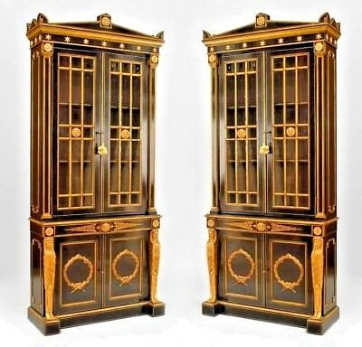 Pair of English Regency Style (19th Cent.) Lacquered Bookcase Cabinet