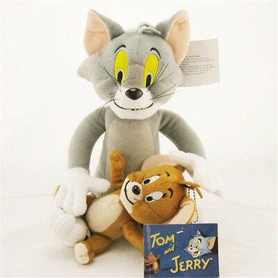 2pcs Cat Tom + Mouse Jerry Anime Cartoon Cute Soft Toy Plush Doll Stuffed Figure