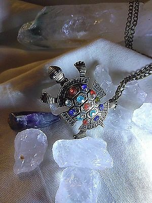 TURTLE NECKLACE OF 1000 WISHES w/ 7 CHAKRAS Descendant of Famous Witch SPELLS
