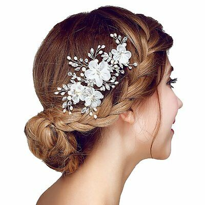 Meiysh Bridal Flower Side Hair Clips Pearl Bridal Headpiece Wedding