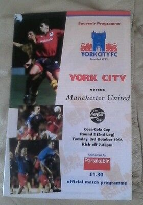 Manchester united v York city 1995 very good condition Coca cola cup away