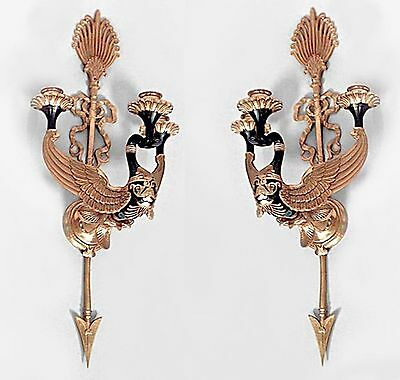 Pair of Russian Neoclassic Style Ormolu & Patinated Bronze 2 Arm Sconces