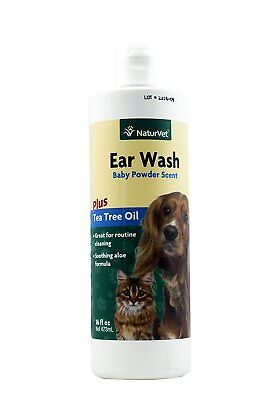 NaturVet Ear Canal Wash Tea Tree Oil Aloe Baby Powder Scent for Dogs Cats 16 oz