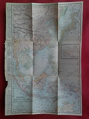 1904 Antique Map of CHINA, FRENCH INDO-CHINA, SIAM, MALAYSIA, Korea, Japan