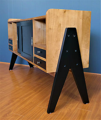 1950s Retro style SIDEBOARD BUFFET - Great TV CABINET - Compass Leg Vintage