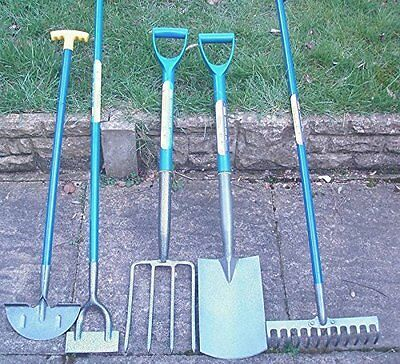 Set of 5 Gardening Tools, Shovel, Fork, Rake, Hoe, Edging Spade