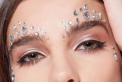Mermaid Sparkle Festival Queen Party Face Silver Holographic Gems Jewels
