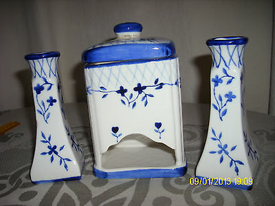 Vintage Candle Holders And Matching , Match/tea Bag Blue And White Porcelain Euc