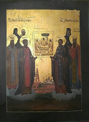 ANTIQUE 19c RUSSIAN HAND PAINTED ICON OF TRINITY AND SELECTED SAINTS
