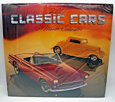 NEW 2017 - CLASSIC CARS - 16 Month Wall Calendar 12x11 FREE SHIPS FROM USA!