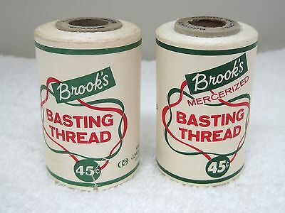 2 Spool Vintage Brook's Basting Thread Coats and Clark White T75