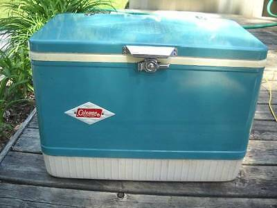 Vintage Turquoise COLEMAN Metal Cooler Super Clean Ice Chest 1960's