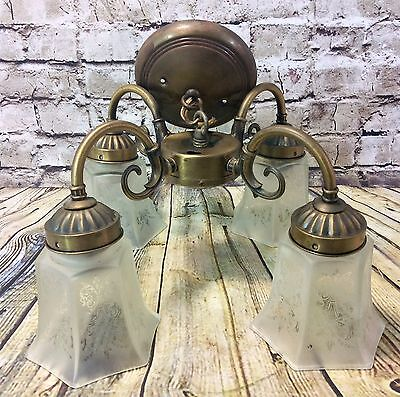 Vintage Brass Ceiling Light Fixture With 4 Etched Glass Shades