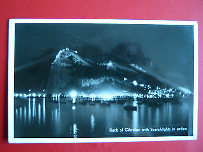 Old Postcard - Rock Of Gibraltar With Searchlights In Action(Nice Postage Stamps
