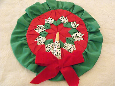 Handmade Fabric Quilt Points Ruffled Christmas Wreath Candle Wall Hanging 12""
