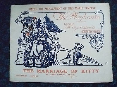 New Theatre Prog 1914- Miss Marie Tempest's THE MARRIAGE OF KITTY by C G Lennox