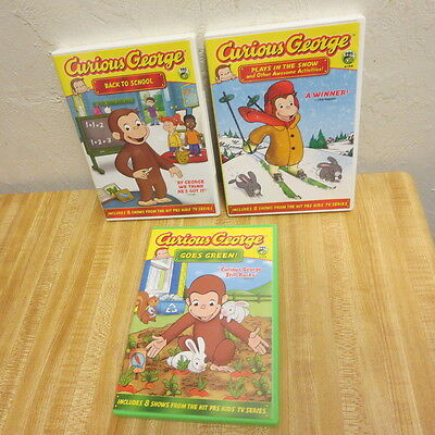 CURIOUS GEORGE Lot of 3 Kid's DVDs Back To School Snow Goes Green