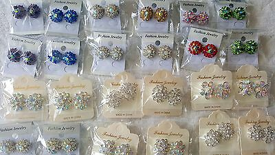 Joblot of 24 pairs Mixed color  Diamante stud Earrings - NEW Wholesale Lot 1