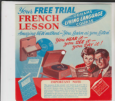 """Odhams Free Trial FRENCH lesson~7"""" Card disc~ Sample lesson, advertisement"""