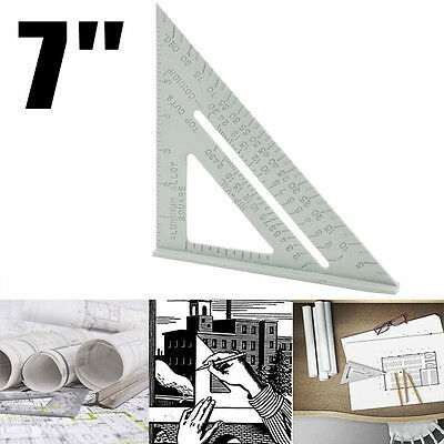"Woodworking 7"" Aluminum Triangle Angle Ruler Protractor Miter Framing Carpenter"