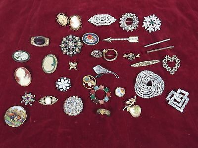 Antique Victorian Jewelry Pin Brooch Lot of 33 Cameo, Rhinestone, Shell, Weiss
